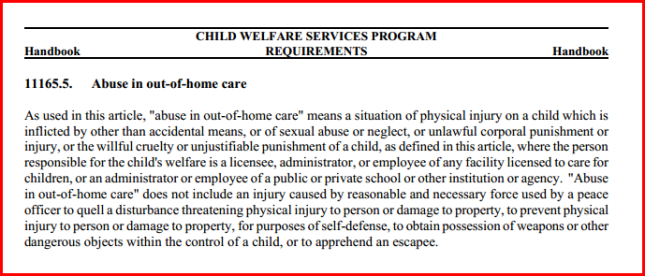 Abuse in out of home care