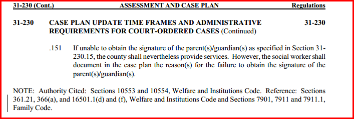 No Signature Required for Case Plan